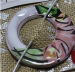 Pottery Shawl pin - Circle - Majolica Cottage Rose