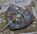 Pottery Shawl pin - Heart - Embossed Swirl Blue