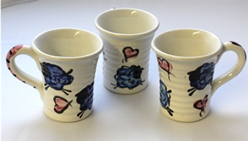 King's Pottery - Small Ridged Mug - Blue Sheep - Pink Hearts