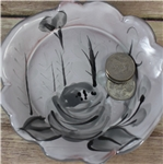 Pottery - Majolica Small Dish - Shabby Chic Black and White