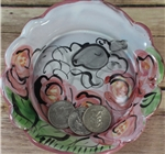 Pottery - Majolica Small Dish - Rose Sheep