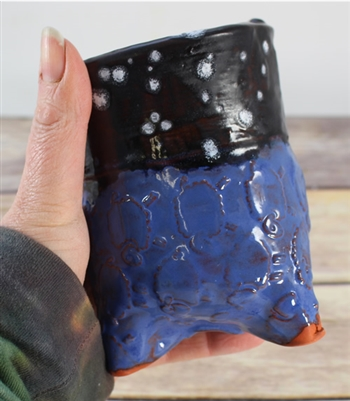 Pottery - Tripod Cup - Sheep -Blue and Black