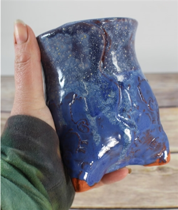 Pottery - Tripod Cup - Sheep -Blue and Crystal Waters