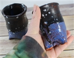 Pottery - Tripod Espresso/Tea Cup - Bird (Black/Blue)