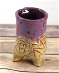 Pottery - Tripod Espresso/Tea Cup - Yellow Rose