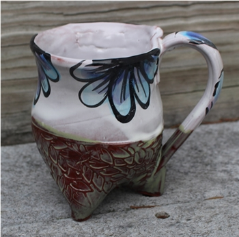 Pottery - Tripod Mug - Embossed Leaf and Majolica Floral