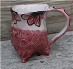 Pottery - Tripod Mug - Embossed Lotus and Pink Majolica Floral