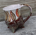 Pottery - Tripod Mug - Embossed Om and Majolica Leaves