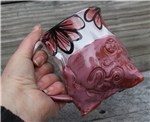 Pottery - Tripod Mug - Embossed Om and Pink Majolica Floral