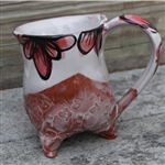 Pottery - Tripod Mug - Embossed Sheep and Pink Majolica Floral