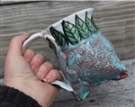 Pottery - Tripod Mug - Embossed Skulls and Majolica Leaves