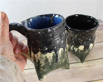 Pottery - Tripod  Mug - Evergreen