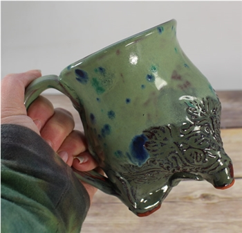 Pottery - Tripod  Mug - Feather - Greens