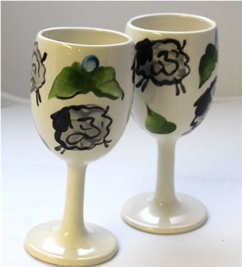 King's Pottery - Wine Glasses - Grey Sheep - Bluebud