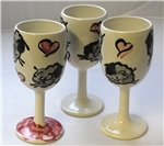 King's Pottery - Wine Glasses - Grey Sheep - Pink Heart