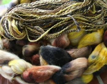 Photographs of the loose fiber and the sample yarn with fiber were created and photographed by Spunky Eclectic. Please note, this listing is just for fiber.