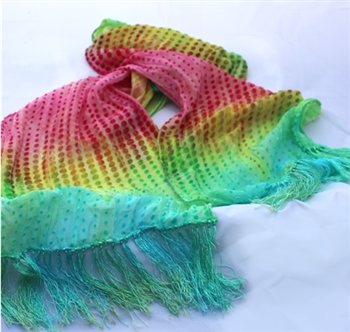 Cut Velvet Silk Scarf with Fringe - Handdyed - Rainbow Dots