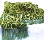 Cut Velvet Silk Scarf with Fringe - Handdyed - Forest Leaves