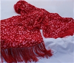 Cut Velvet Silk Scarf with Fringe - Handdyed - Lobster Trellis