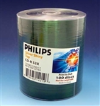 philips 52x cd-r shiny silver tops 100 pack