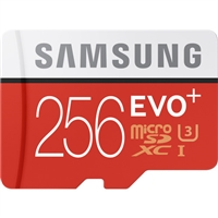 Samsung 256GB EVO+ UHS-I microSDXC U3 Memory Card (Class 10) with Adapter