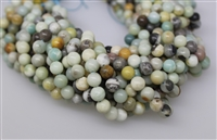 AMAZONITE BLACK&GOLD ROUND SMOOTH - 8mm