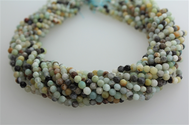 AMAZONITE BLACK&GOLD FACETED ROUND - 4mm