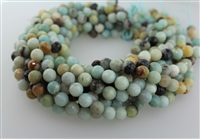 AMAZONITE BLACK&GOLD FACETED ROUND - 8mm