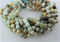 AMAZONITE BLACK&GOLD FACETED ROUND - 10mm