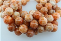 ORANGE CALCITE SMOOTH ROUND - 18mm