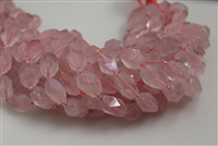 ROSE QZ CRYSTAL FACETED NUGGET ELECTRIC COATED