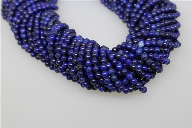 LAPIS LAZULITE SMOOTH ROUND COLOR ENHANCE - 4mm