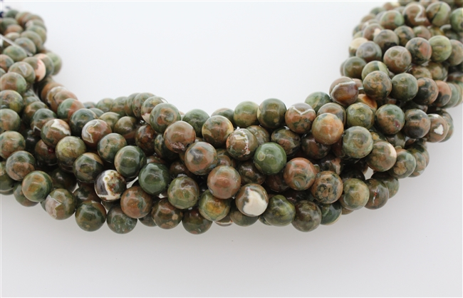 RAINFOREST JASPER RHYOLITE SMOOTH ROUND - 8mm