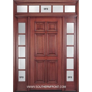 Solid 6-8 MC10AP 6 Panel Single 2 TDL Sidelights and a TDL Rectangular Transom  sc 1 st  Southern Front Doors & Solid 6-8 MC10AP 6 Panel Single 2 TDL Sidelights and a TDL ...