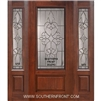 Courtlandt 3/4 Lite Cherry 1 Panel Single and 2 Sidelights