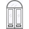 Palermo GBG 8-0 Arch Lite Fiberglass Knotty Alder 1 Panel Double and Half Round Transom