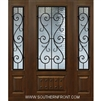 St Charles 6-8 3/4 Lite FG WI Cherry 1 Panel Single and 2 Sidelights