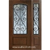 St Charles Arch Lite Cherry 1 Panel Single and 1 Sidelight