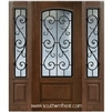 St Charles Arch Lite Cherry 1 Panel Single and 2 Sidelights