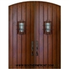 Plank Arch Top Double Door with Speakeasy and Clavos