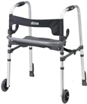 Drive Clever-Lite LS Walker flip up seat and 5 inch fixed wheels, Rear glides and push down brakes