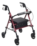 Drive Rollator With Adjustable Seat Height and Fold-Up Removable Back Support