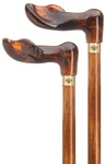 "Unisex palm grip handle- amber acrylic, scorched and cherry stained hardwood shaft, 36"" long"