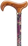 Ladies Lavender Lace Print On Maple Wood Shaft with Scorched Derby Solid Wood Handle With Brass Band