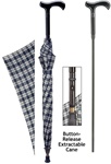 Cane umbrella with Blue and Black Pattern