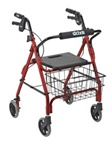"Drive Deluxe Aluminum Rollator with Plastic Seat, 6"" Casters (LB)"