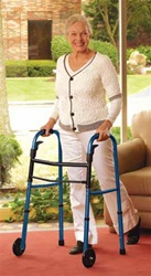 "Medline Walker, Foldable, 5"" Front wheels, Blue #MDS86410KDBW"