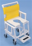 "PVC Shower and Commode Chair Soft Seat Footrest Drop Arm 18"" Wide"