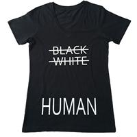 Ladies Black White Human V-Neck Tee