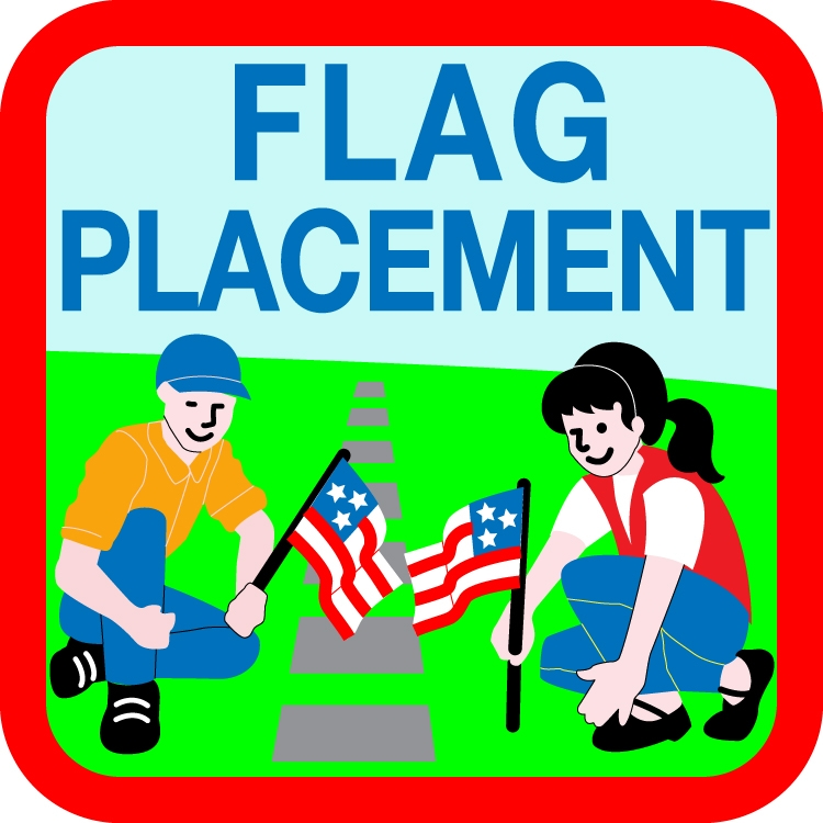 Flag placement for Proper placement of american flag